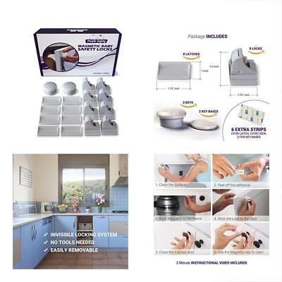 Magnetic Cabinet Locks & Straps Baby Safety For Cabinets Drawers Proof Easy No