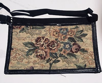 Leather Market Trader Money Belt Pouch Bag Adjustable Heavy Floral Fabric