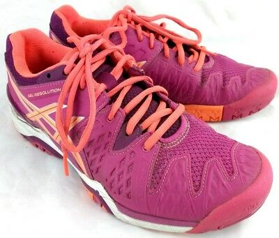 Asics Gel Resolution Womens Sz US 7.5 EU 39 Running Shoes Berry Coral Plum 137-8
