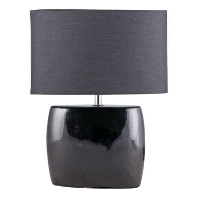 Modern Black Ceramic Oval Table Lamp Bedside Light with Matching Black Shade