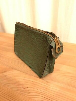 Alte kleine Ledertasche England Vintage Leather Bag Messing Brass - RARITÄT