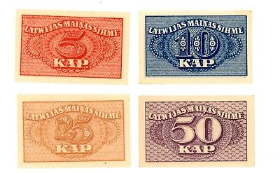 Latvia ... P-9-12 ... 5-50 Kaperkas ... ND(1920) ... *Ch UNC* ... Set of 4 Notes