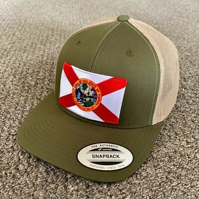 Great Seal of FLORIDA Flag Hat SnapBack Trucker Mesh Cap Handcrafted in the USA!