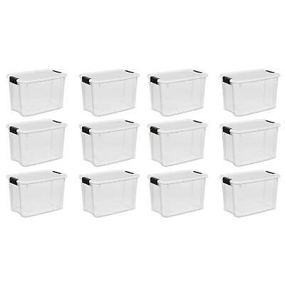Sterilite 30 Quart Ultra Latch Storage Box w/ White Lid & Clear Base, 12 Pack
