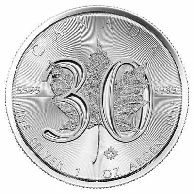 2018 30th Anniversary Silver Maple Leaf 1 oz Coin | Direct From Mint Tube
