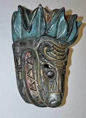 Early 1970s Mexican Mask, Hand-Carved Wood/Polychrome, Quetzalcoatl, RARE