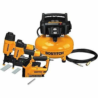 BOSTITCH 3-Tool and Compressor Combo Kit FINISH NAILER-CROWN STAPLER-BRAD NAILER