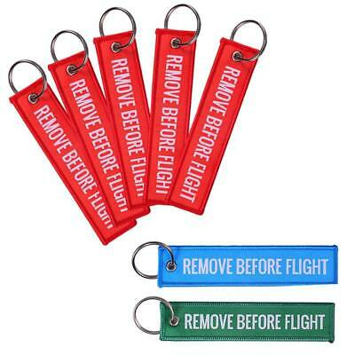 New Remove Before Flight Key Chain Luggage Tag Woven Embroidery Keychain 5PCS