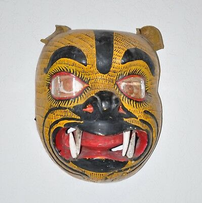 Large, Vintage 1980s Mexican Mask, Jaguar, Hand-Carved Wood/Polychrome/Leather