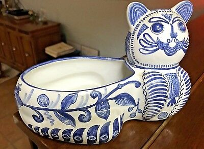 Vintage Portugal Blue and White Majolica CAT PLANTER-Double-sided