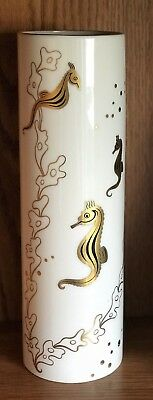 "Vintage 1950's  LENOX Seahorse  24 Karat Gold Trim 11.5"" Bone China Vase"