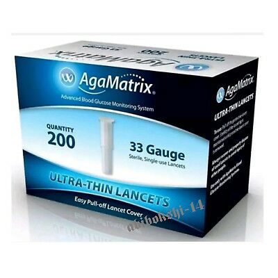 AgaMatrix WaveSense JAZZ Box of 200 Lancet 33 Gauge  (Brand new and sealed )