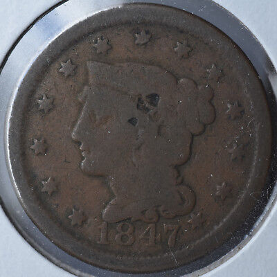 1847 1C Braided Hair Large Cent Type Coin Copper Circulated