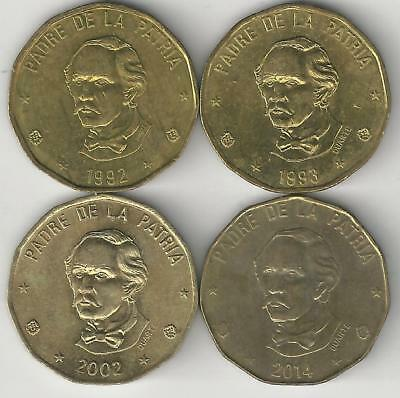 4 DIFFERENT 1 PESO COINS from the DOMINICAN REPUBLIC (1992, 1993, 2002 & 2014)