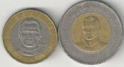 2 BI-METAL COINS from the DOMINICAN REPUBLIC - 5 & 10 PESOS (BOTH DATING 2008)
