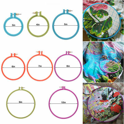 3-10 Inch Plastic Handy Cross Stitch Machine Embroidery Hoop Ring Sewing Tool