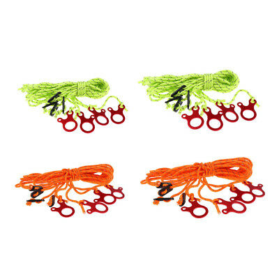 4pcs 4mm Reflective Camping Tent Guy Line Rope with Tensioners Green/Orange