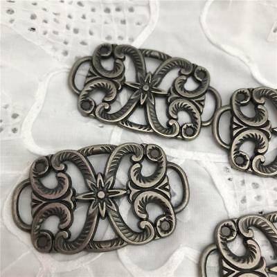 Silver Metal Belt Buckles With Flower Patterns  x 4 NEW !