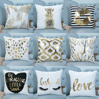 Gold Shining Printed Polyester Throw Pillow Cases Sofa Cushion Cover Home Decor