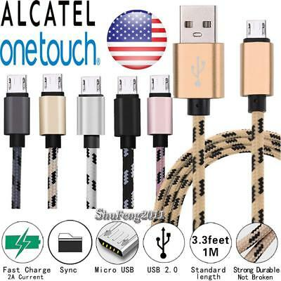 3FT Micro USB Fast Charging Phone Data Sync Charger Braided Cable For Alcatel