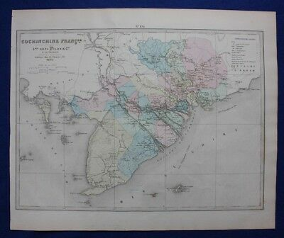 Original antique map VIETNAM, 'COCHINCHINE FRANCAISE', Levasseur, Fisquet, 1878