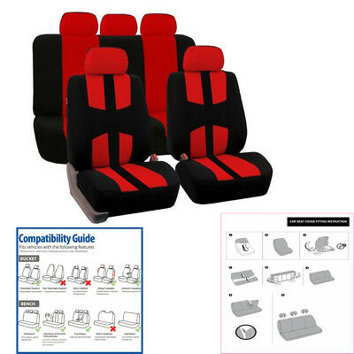 9 Pcs Car Seat Covers Red Black Complete Full Set For Auto SUV Truck Van Vehicle