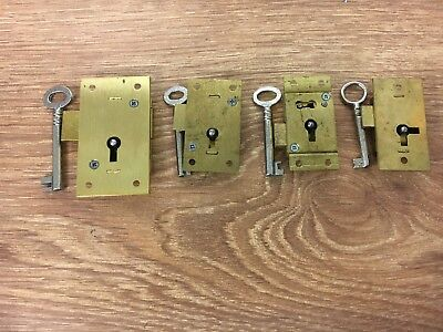 Traditional Solid Brass Flat 2 Lever, Cupboard Locks, with 2 keys, British Made