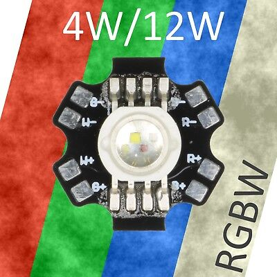 4W / 12W  RGBW High Power LED Star Board 300mA / 700mA - Red Green Blue White