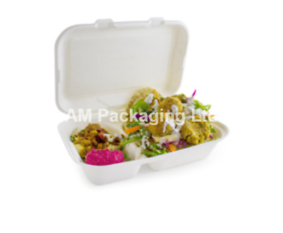 """9x6"""" 2 Compartment Lunch Box White Biodegradable Bagasse Food Container BIO003"""
