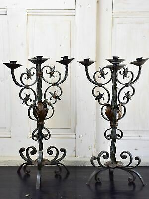 Pair of antique French candlesticks - wrought iron