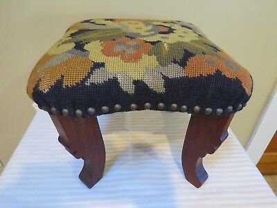 """Antique 13"""" Square Needlepoint Floral Foot Stool With Carved Legs"""