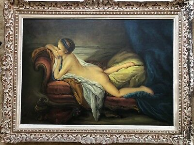 HUGE ANTIQUE FRENCH 19th CENTURY NUDE OIL by Felix Lenoir - Marie-Louise Murphy