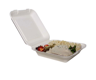 """9"""" Bagasse Clamshell Meal box, Biodegradable Sugarcane Food Containers BIO006"""
