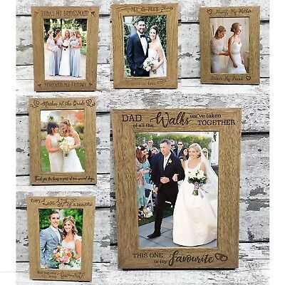 Wedding Photo Frame Mother/ Father Of Bride Gift Bridesmaid Mr Mrs Engraved Wood