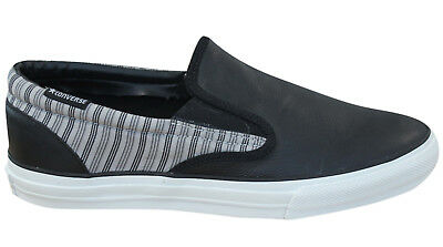 Converse Skid Grip EV Contrast Slip On Mens Trainers Black Leather 100371 B73A