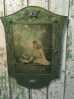 Antique Barbola Pink Roses Wood Plaque Little Girl With Bird 1940s Garden Style