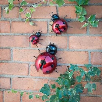 Stunning Look Garden Wall Art Set Of 3 Lady Birds Wall Hanging Decor