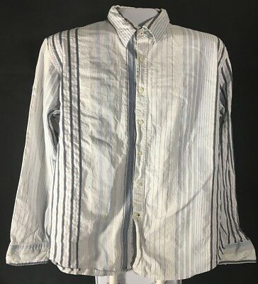 Men's Long Sleeve Casual Dress Shirt Size XXL Blue White Striped Tommy Jeans 2XL