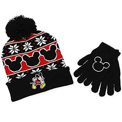 Mickey Mouse Youth Boys Beanie Hat and Gloves Set (Cherry Red) 91c21c6a92b5
