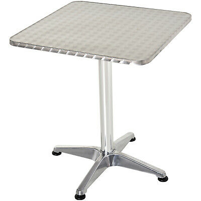 60 x 60 cm Bistro Bar Coffee Square Table Height Adjustable with Aluminum Edges