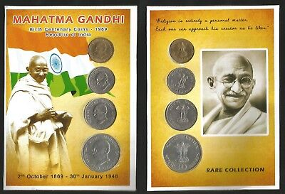 India 1969 Gandhi Centenary Proof Set of Coins 20p to Rs 10 collection #184