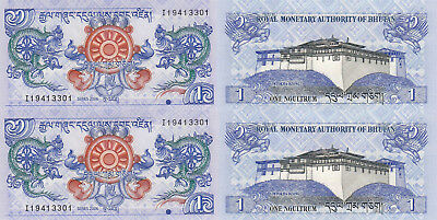 Bhutan 1 Ngultrum (2006) - p27a x 2 Pieces UNC
