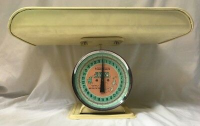 Vintage Hanson Nursery Baby Scale 3025 30 lbs Removable Tray White Pink Works