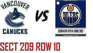 1-2 Tiks Edmonton Oilers Vs Vancouver Canucs Sept 25 Rogers Place Sect 209 Row10