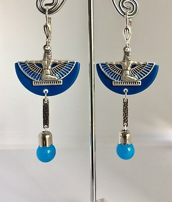 Art Deco Egyptian Revival Blue French Bakelite Winged Isis Statement Earrings