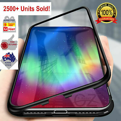 Magnetic Metal Frame Tempered Glass Phone Case Cover iPhone X XS MAX XR 7 8 Plus