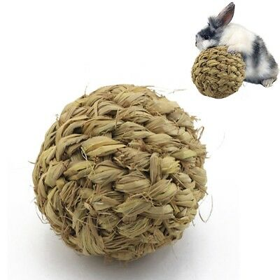 Pet Chew Toy Natural Grass Ball with Bell for Rabbit Hamster Guinea Pig Too A4A0