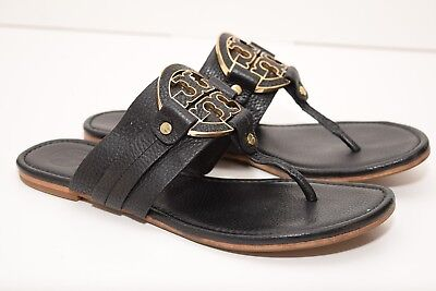 151c57c3f43f12 TORY BURCH Womens Miller Leather Black Gold Logo Flip Flop Sandals sz 9.5M