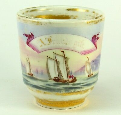 ! c.1800 FINE Porcelain Hand Painted Sailor's Occupational Mug - BARNARD'S INN