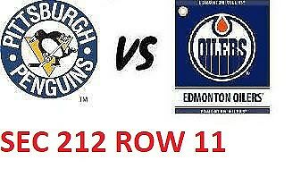 1-2 Tiks Edmonton Oilers Vs Pittsburgh Penguins Oct 23 Rogers Place Sect 212 R11